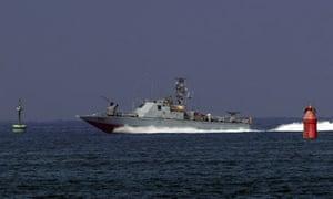 An Israeli army military vessel enters Ashdod
