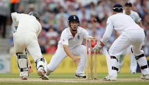 sport: Jonathan Trott of England fields on the