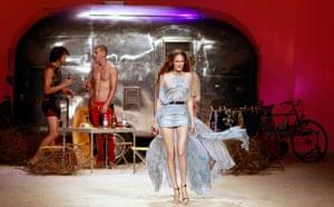Milan Fashion Week Day 2: A model presents a creation during Milan Fashion Week