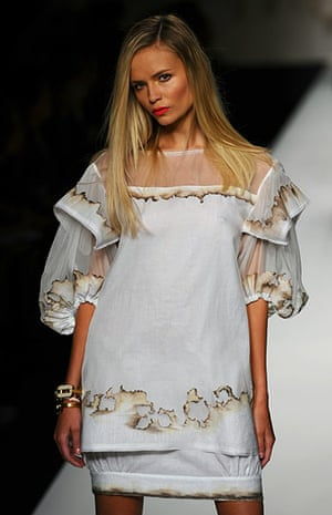 Milan Fashion Week Day 2: A model displays a creation as part of Fendi SS 2011 collection