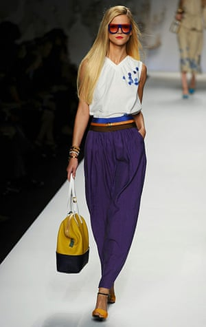 Milan Fashion Week Day 2: A model displays a creation as part of Fendi SS2011