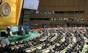 US president Barack Obama addresses the UN general assembly at the opening of its 65th session