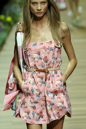 Milan Day 2 Update: A model displays a creation as part of D&G spring-summer 2011