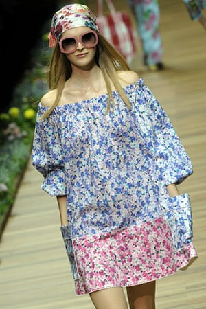 Milan Day 2 Update: A model displays a creation as part of D&G SS2011