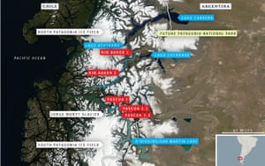 Patagonia dams: Map of the Patagonian ice fields