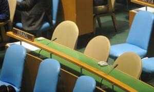 Israel's empty seat during Mahmoud Ahmadinejad's address to the UN