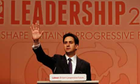 The new Labour leader, Ed Miliband addresses the party faithful after his victory in Manchester