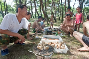 North Korea: People have a beachfront barbeque close to Wonsan
