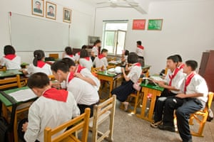 North Korea: School children, members of the Pioneers, the official youth organisation