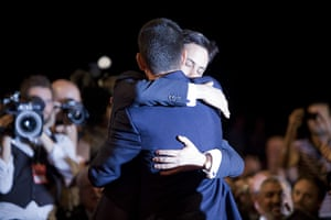 Labour party conference: Ed Miliband hugs his brother David Miliband