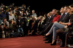Labour party conference: The Labour leadership candidates listen to the results