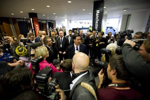 Labour party conference: Ed Miliband is surrounded by photographers