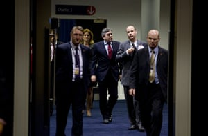 Labour party conference: Former Prime Minister Gordon Brown makes his way to the hall