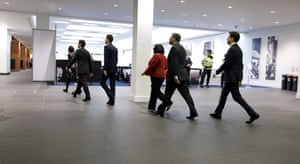 Labour party conference: The Labour leadership candidates walk towards the hall for the announcement