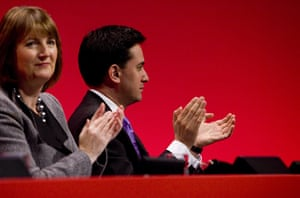 Labour party conference: Labour party leader Ed Miliband and deputy leader Harriet Harman applaud