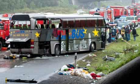 Coach crash wreckage on Berliner Ring motorway