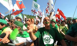 Supporters of the far-right Northern League party attend their rally in Pontida