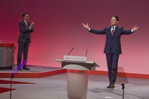 Labour party conference: Labour Party leader Ed Miliband, left, applauds his brother David onstage