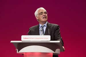 Labour party: Shadow Chancellor Alistair Darling addresses the Labour party conference