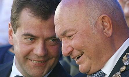 Russian president Dmitry Medvedev and Moscow mayor Yuri Luzhkov