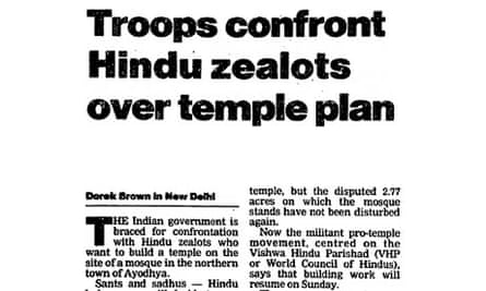 Article on the site of a mosque in Ayodhya from The Guardian, 3 December 1992.