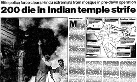 Article on the mosque in Ayodhya from The Guardian, 8 December 1992.
