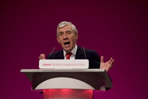 Labour conference: Labour Party justice spokesman Jack Straw addresses the conference