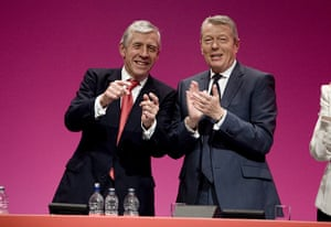 Labour conference: Jack Straw is applauded after his speech by Alan Johnson