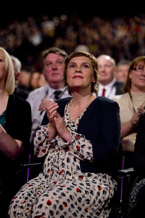Labour party conference: Ed Miliband's partner Justine Thornton listens to his speech