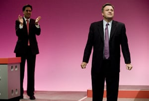Labour party conference: Ed Miliband applauds Ed Balls, shadow Education Secretary, after his speech