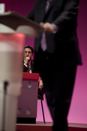 Labour party conference: Ed Miliband listens to Ed Balls, shadow Education Secretary