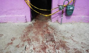 The entrance of a drug treatment centre in Juárez, Mexico, after 18 people were killed