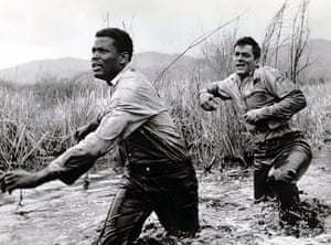 Tony Curtis: Tony Curtis with Sidney Poitier in Defiant Ones, 1958