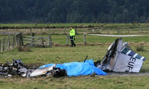 The wreckage of the plane which crashed in a field near Fox glacier, New Zealand, killing nine