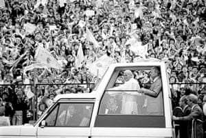 pope update: Pope John Paul II Popemobile at the Murrayfield Stadium
