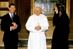 pope update: Pope John Paul II with Prince Charles and Princess Diana