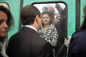 French Strikes: Commuters are seen in a crowded subway train Paris