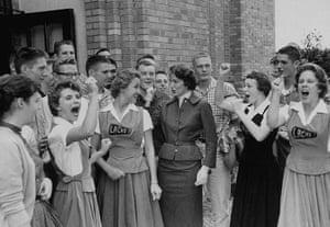 Little Rock: White students in front of high school in little rock