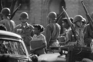 Little Rock: Troops Watch as Black Students go to School