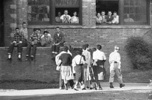 Little Rock: Students Watching African American Students ann few weeks later