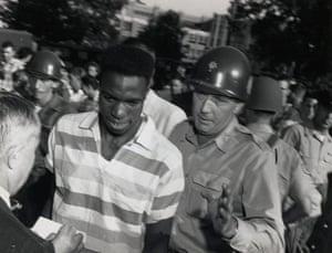 Little Rock: Natl Gaurd Walks Black Man Thru Crowd
