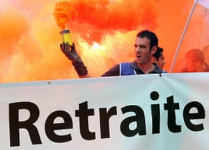 French Strike Update: A fireman takes part in a demonstration