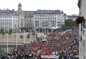 French Strike Update: Protestors march through Lyon