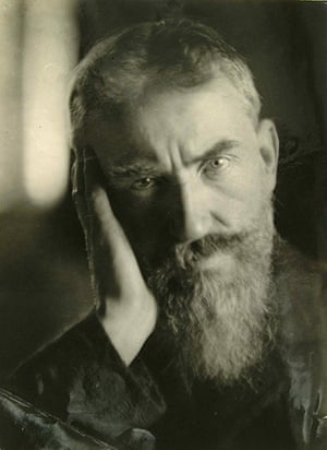 George Bernard Shaw: Self-portrait of Shaw looking straight at the camera