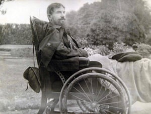 George Bernard Shaw: Shaw sitting in his wheelchair, taken in the garden at Pitfold
