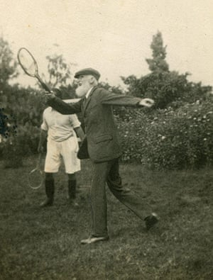 George Bernard Shaw: Shaw playing tennis in a suit and cap