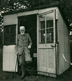 George Bernard Shaw: Shaw stepping out of his writing hut in the garden of Shaw's Corner