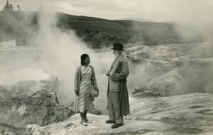 George Bernard Shaw: GB Shaw and his guide, Rangi, standing in front of hot springs