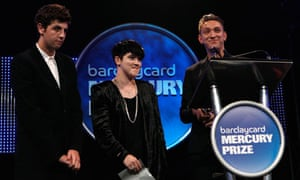 The xx receive their award on stage at the Mercury prize awards