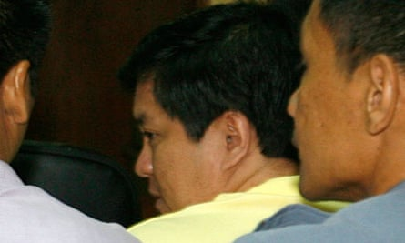 Andal Ampatuan Jr, the main suspect in the massacre of 57 people in the Philippines, at his trial